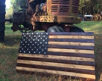 Rustic Wood American Flag - Stained Wood US Flag Art