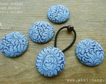 Upcycled Vintage Covered Button Ponytail Holder, Chrysanthemums