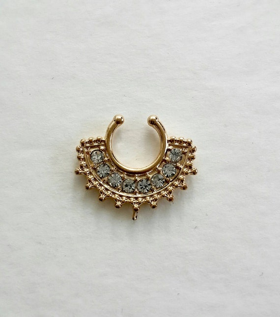 gemstone septum nose ring fashionable nose ring gold
