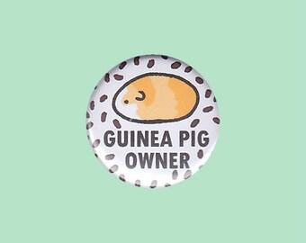 Guinea Pig Owner Badge (RED) - crazy guinea pig lady, guinea pig button, cute cavy, cavy button, guinea pig illustration, kawaii badges