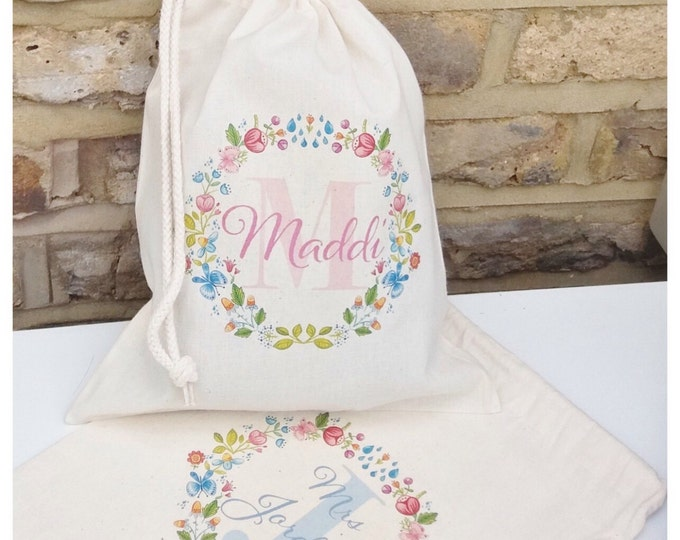 Personalised gift bag, pouches, tote bag, keepsake bag. Bridesmaid, flower girl, maid of honour, Teacher