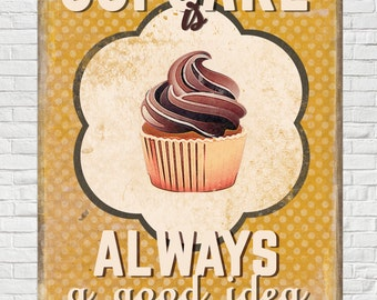 Vintage / Retro Sign Old Style Wall Decor Cupcake poster