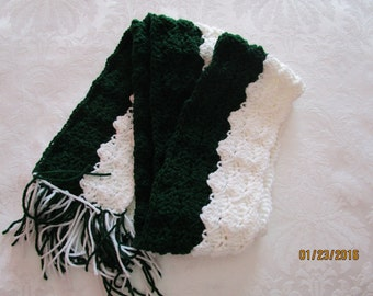 Two tone Hunter Green/White scarf