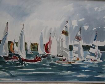 RARE Original Sailing Regatta Watercolor Listed Artist Frary