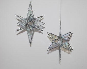 3-D Stained Glass Star Moravian Sun Catcher, 12 Point Hanging Stars Ornament Decoration Transparent Iridescent Krinkle Glass