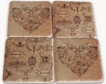 Ceramic Coaster Tiles with 4 Vintage Bug Designs. Set of 4 Coasters RN7281
