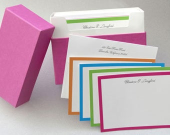 Bright Boarder Personalized Note Cards with Envelopes