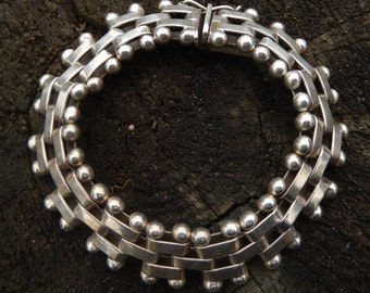 STERLING bracelet vintage link heavy 8 inch bracelet 58 grams solid Taxco Mexico 1960 rare collectible