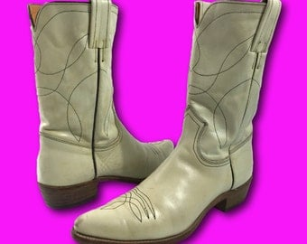 Vintage 70's FRYE Black Label Ivory Leather Western Cowboy Ankle Boots Sz 7.5 A