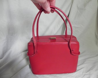 1940's ? Red Leather Double Handled Box Purse Handbag by American Modes