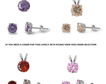 Gift multi color fire round shaped diamond solitaire pendant stud earrings set 925 Sterling Silver free world wide shipping