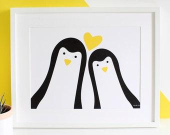 Penguin Couple 'Selfie' Personalised Print