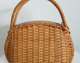 Vintage Etienne Aigner Wicker Handbag
