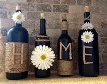 HOME Wine Bottle Decor, Home Decor, Wine Bottles, Shabby Chic, Country. Gift for Home