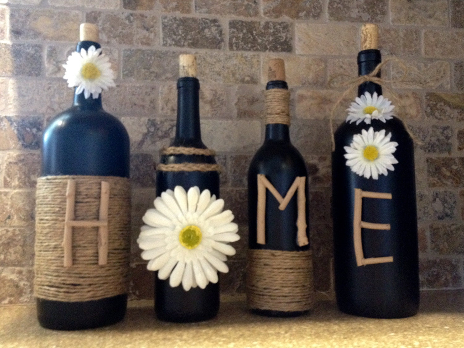 Home wine bottle decor home decor wine bottles shabby chic for Wine country decorating ideas