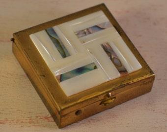 Vintage brass, enamel, tiny box,pills box