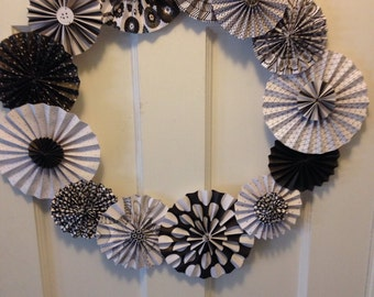 Black and White Pleated Paper Rosette Wreath