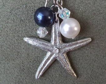 Silver starfish with swarovski pearls and crystals