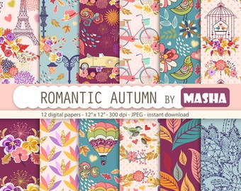 "Autumn digital papers: ""ROMANTIC AUTUMN"" with fall digital paper, romantic digital paper, leaves pattern, 12 images, 300 dpi. jpg files"