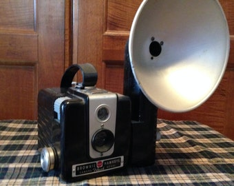 Kodak Brownie Camera with Flash and Cover 1950-1960's