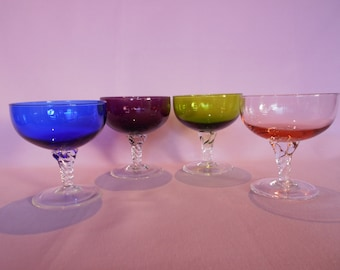 Vintage Harlequin Champagne Bowls or Glasses Set of Four 1970's  #10138