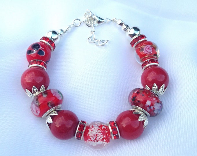 Red agate and glass bracelet, agate and glass bracelet, red agate bracelet, agate bracelet, red glass bracelet, ref bracelet, agate & glass