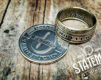 "Handcrafted ""Zero Fucks"" Coin Ring, Wedding Ring, Groomsman Gift, Unique Ring, Special Occassion Gift, Handmade Ring"