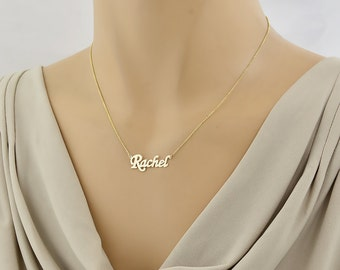 Dainty Solid Gold Name Necklace, 1 Inch Personalized Necklace Laser Cut Fine Jewelry GC51