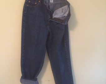 Size 14R S Levi Strauss 560 Denim Jeans vintage Dark Wash High Waisted Made in USA RedTab (3)