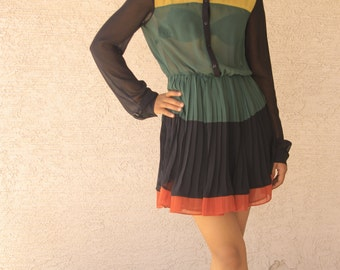 Colorful Sheer Black Green Orange Dress // Small // Petite
