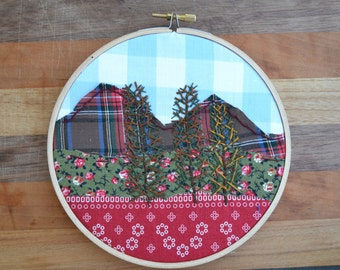 Fall hoop wall decor, hand embroidered pine trees