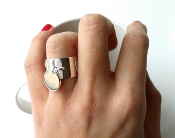 Ring Silver 925/000 tassel - silver large ring 925 charm - wide rings 925 sterling silver
