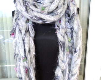 Arm knit chunky scarf, Oversized scarf, Gray scarf, Long scarf, Fashion scarf