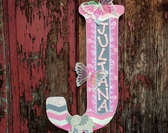 Large Wall Letter, Nursery Letter, Children's Wall Hanging, Door Hanger, Nursery Decor, Pink and Gray, Girls Room, Butterfly Decoration