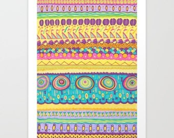 "A3, Print, Abstract Drawing with markers, Title: ""Cool Pattern"", Modern Wall Art, Modern Colorful Giclee Print"