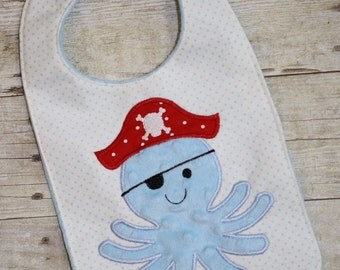Octopus Pirate Bib In The Hoop Embroidery Machine Design for the 7x12, 8x12 and 8x14 hoop
