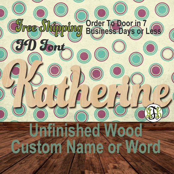 Unfinished Wood Custom Name or Word FD Font, Script, Wedding, laser cut wood, wooden cut out, Connected, Personalized