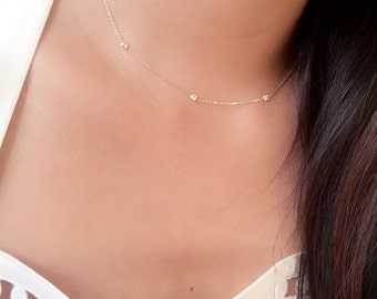 Dainty diamonds by the yard choker necklace / cz choker necklace / minimalist choker 14k gold / station necklace / diamond station necklace