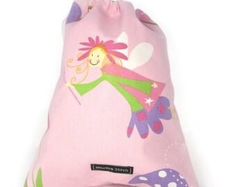 Fairy school shoe kids pink drawstring toy bag