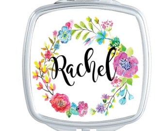 Personalized Compact Mirror, Personalized Gift, Custom Cosmetic Mirror, Floral Watercolor Wreath, Stocking Stuffer, Purse Mirror