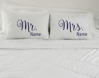 Personalized Pillow Case, Mr. and Mrs. Pillow Case, Personalized Name Pillowcase, Custom Wedding Gift, Custom Pillowcases, Couples Pillows