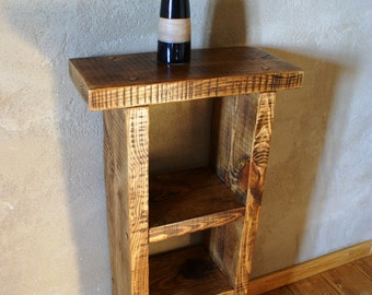New Handmade Rough Sawn Rustic Waxed Bed Side Table Lamp Console