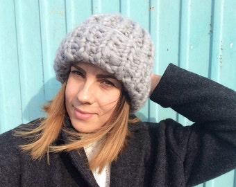 Bulky winter knitted grey hat of merino wool