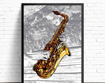 Saxophone Poster, Saxophone Wall Art, Jazz Wall Decor, Saxophone Illustration, Music Home Decor, Jazz Art Print, Jazz Music Poster Print