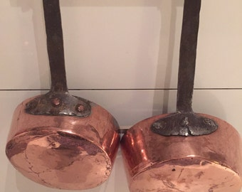 2 Antique 1800's Copper Pans with Long Rod Iron Handles Copper Rivets Paris, France
