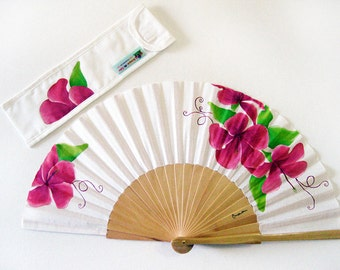 """Spanish hand fan painted with matching sheath """"Contrasts"""""""