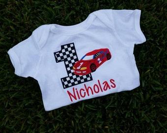 custom personalized race car birthday shirt