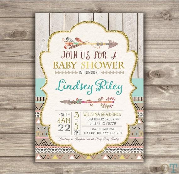 arrow baby shower tribal feather geometric woodland baby, Baby shower invitations