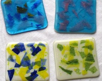 2 glass coasters, Colourful coasters, Colourful glass coasters, colorful glass coasters, Modern coasters, Blue coasters, Yellow coasters
