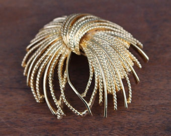 Vintage Monet Gold Tone Brooch - 1960's Costume Jewelery